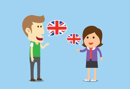 Vrouwen en man spreekt Engels in een gesprek van hen Stock Illustratie