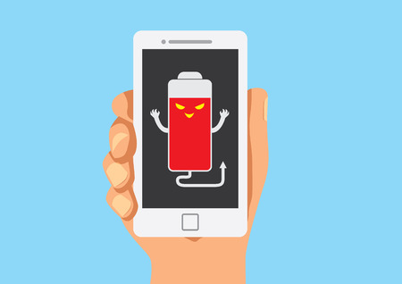 counterfeit: False battery show on mobile in hand Illustration