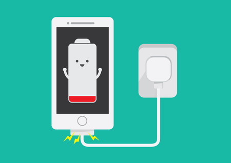 charger: Battery low energy to running in flat cartoon version Illustration