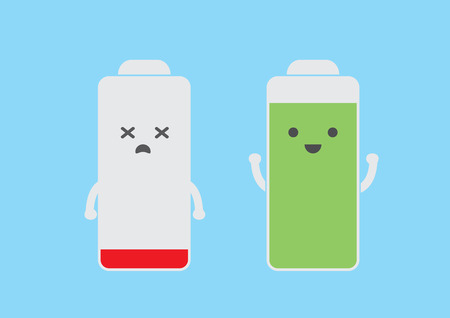 full screen: Battery smart phone cartoon in full and low energy action Illustration