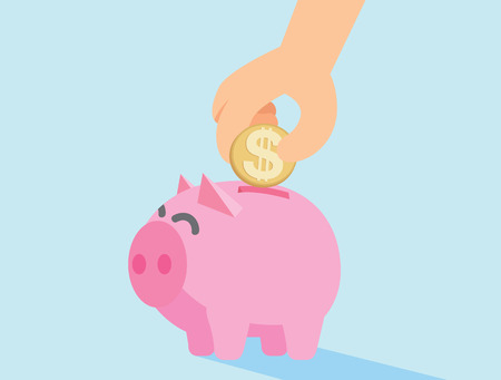 resourceful: Human hand drop coin in piggy bank Illustration