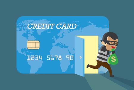 tarjeta de credito: Dinero Ladr�n de la tarjeta de cr�dito y huir