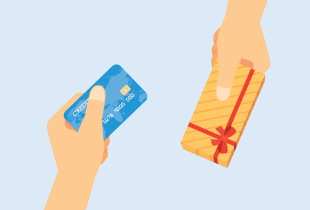 hand grip: Use credit card exchange to gift box Illustration