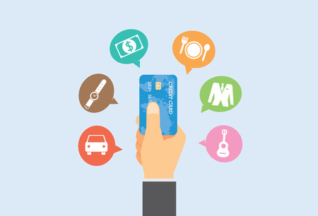 Pay with credit card for buy anything you want. Vectores