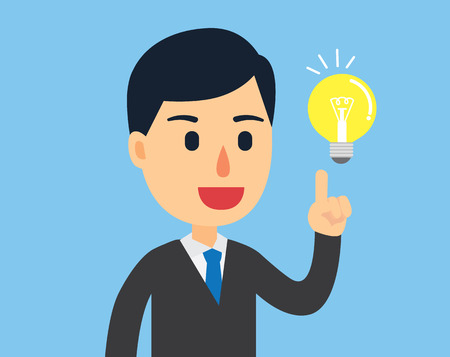 think up: Businessman happy with his bright idea in work day Illustration