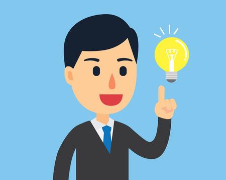 bright idea: Businessman happy with his bright idea in work day Illustration