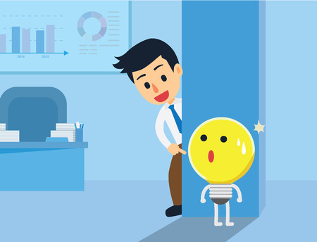 hide and seek: Businessman hide and seek with Idea in office