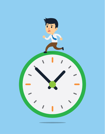 man looking out: Stressed businessman running on clock in rush time Illustration