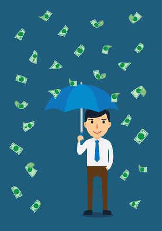 blow up: Businessman open an umbrella in a rain of money Illustration