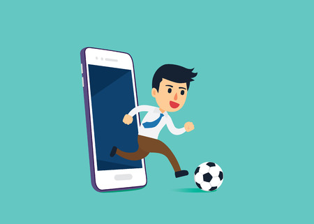 addictive: Businessman out of mobile phone screen to play football