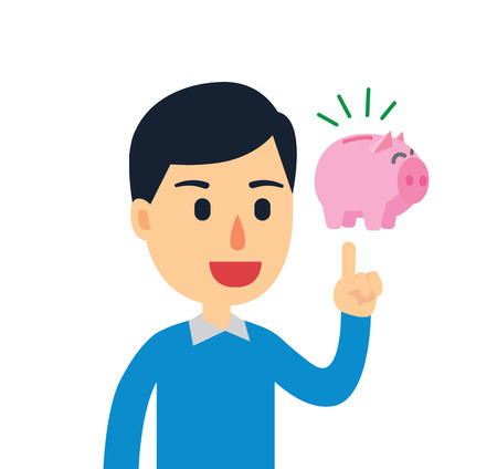 wag: Young man have a good idea to saving his money Illustration