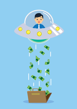 spending money: Finance Concept idea, UFO kidnapping many money from bag