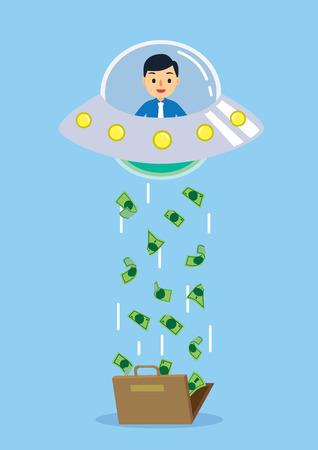 platillo volador: Finanzas idea Concepto, secuestro OVNI muchos dinero de la bolsa
