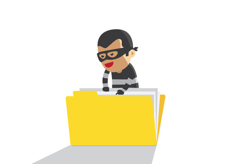 robbery: computer hacker hacking robbery data in yellow folder Illustration