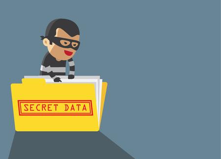 computer hacker: computer di hacker hacking rapina dati segreti nella cartella gialla