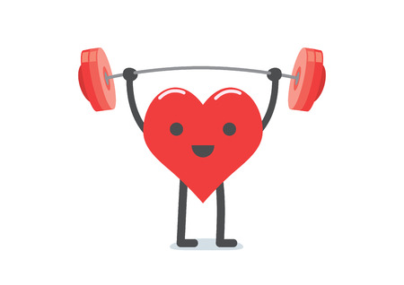 lifting weights: Healthcare concept, strong heart weight lifting over isolated background