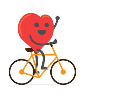 Red heart  strong and happy with bike over isolated background Çizim