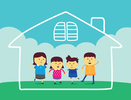 happy asian family: Wellbeing family on green field and have home linear in the air.