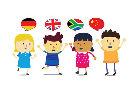 International Kids cartoon mascot boy and girl difference language