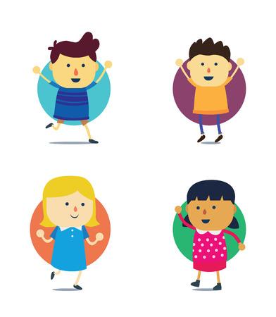 niñas chinas: International Kids muchacho mascota de la historieta y la niña Vectores