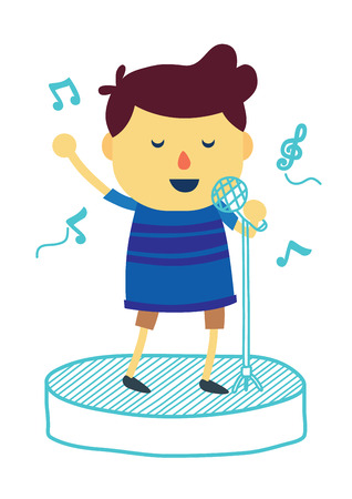 sings: Boy cartoon sings a song with microphone on draw stage. Isolated on a white background