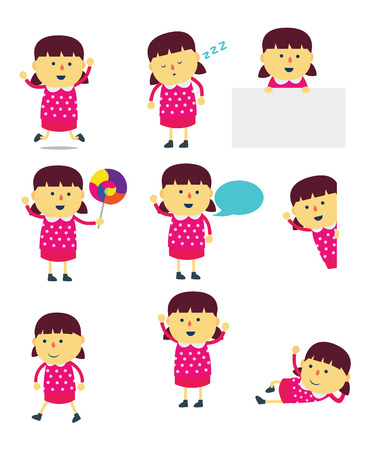 lie down: Girl cartoon mascot set in many action is composed of walk, present, speak, looking, greeting and etc.