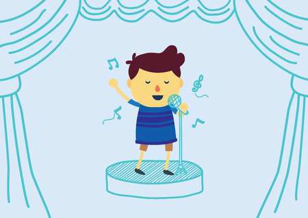 sings: Boy cartoon sings a song with microphone on draw stage have curtain. Illustration