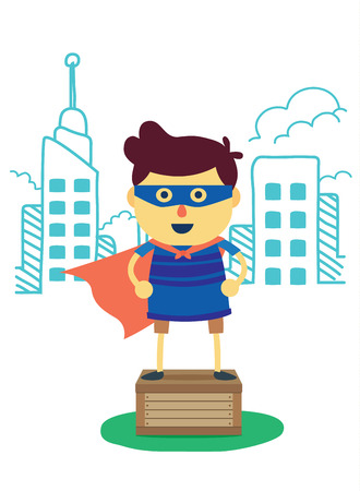 imagine: Superhero boy post on box front city of imagine background. concept cartoon about power, imagine, fun, learning and progress of kid Illustration