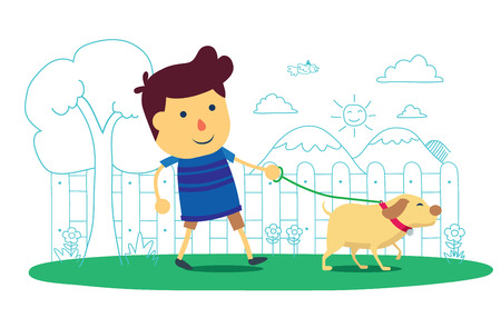 dog walk: Kid going to take the dog for a walk in park, wellbeing life cartoon on isolated background Illustration