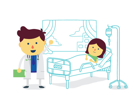cartoon bed: Doctor therapist with girl patient to recover quickly in room of hospital