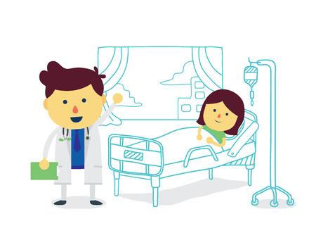 letti: Medico terapeuta con la ragazza paziente di recuperare rapidamente nella stanza di ospedale Vettoriali