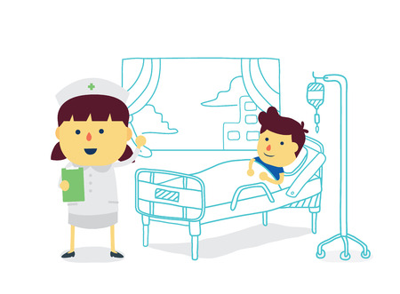 recover: Nurse therapist with boy patient to recover quickly in patient room of hospital Illustration