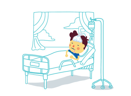 Top view of sick boy with high fever sleeping to resting on bed in patient room of hospital Illustration