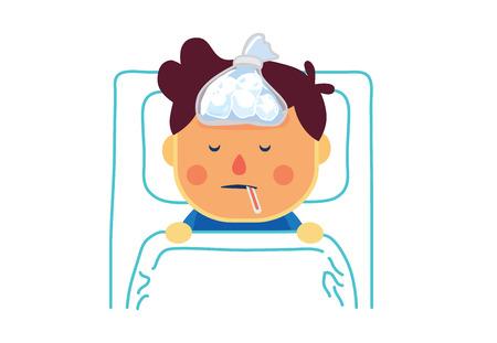 Zieke jongen met hoge koorts slapen te rusten op bed in de patiëntenkamer van het ziekenhuis