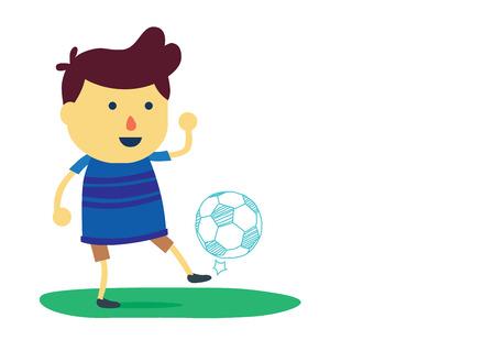 futsal: Kid cartoon in sportswear juggling with a soccer ball on isolated Illustration