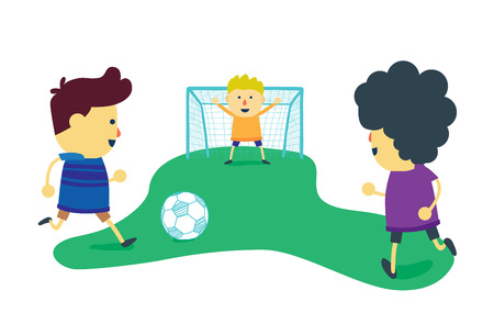 Three boy friends is enjoy with play football on soccer field Vector