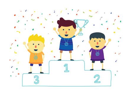 Winner kids holding up winning trophy. Vector