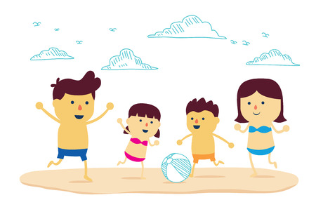 well being: Family be have father, mother and son well being with play ball on the beach