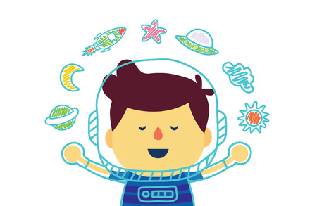 daydreamer: Kid who dreams of being in space with color pencil drawing in boy version