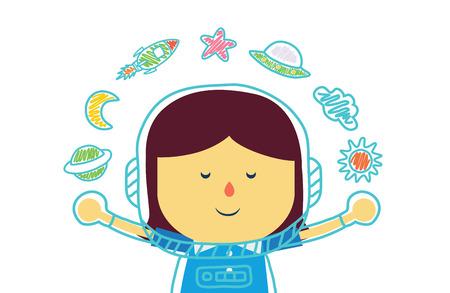 소녀 판에서 색연필로 우주에있는 것을 꿈꾸는 아이 일러스트