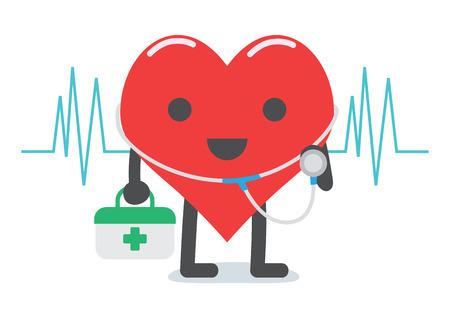 심장 의사 캐릭터 만화 알약 상자를 들고와 건강 진단을 위해 청진기를 가지고