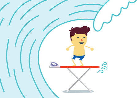 Steam iron: Dream of Little Surfer Kids play with stand on Iron table look like surfing Illustration