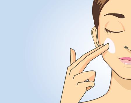 Beauty women apply cream on face for treatment skin Illustration