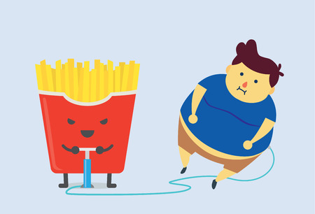 cartoon human: French fries make fat fast with air pump