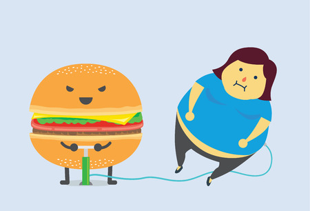 unhealthy food: Hamburger make you fat fast with air pump