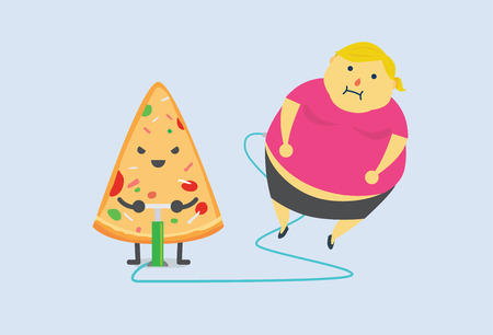double chin: Pizza make man fat fast with air pump