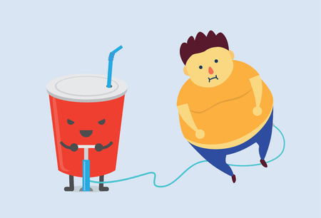 overweight kid: Soft drink make you fat fast with air pump Illustration