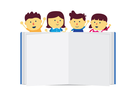 law library: Children group happy feel stay top a book empty page on white background