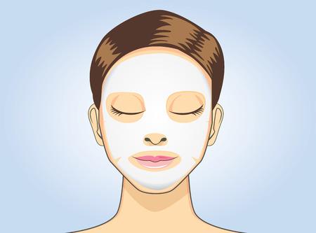 青い背景上の漫画版で女性顔シートマスク