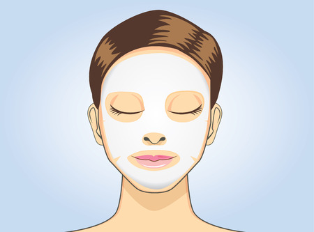 facial care: Women facial sheet mask in cartoon version on blue background